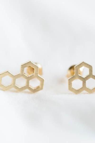 Royal jelly earring,hexagon,hexagonal ring,geometric,modern,royal jelly,minimalist,5 hexagon ring,tiny hexagon,unique earring,E136R