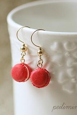 14K Gold Red Macaron Earrings