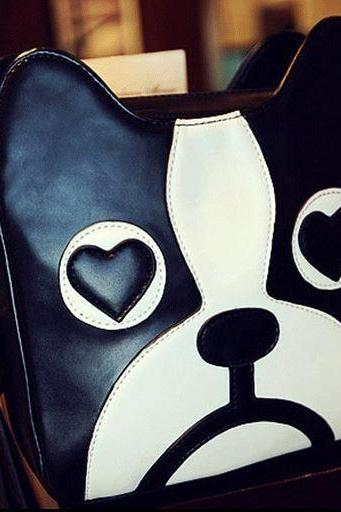 Cute Black & White Dog Cross Body Shoulder Bag