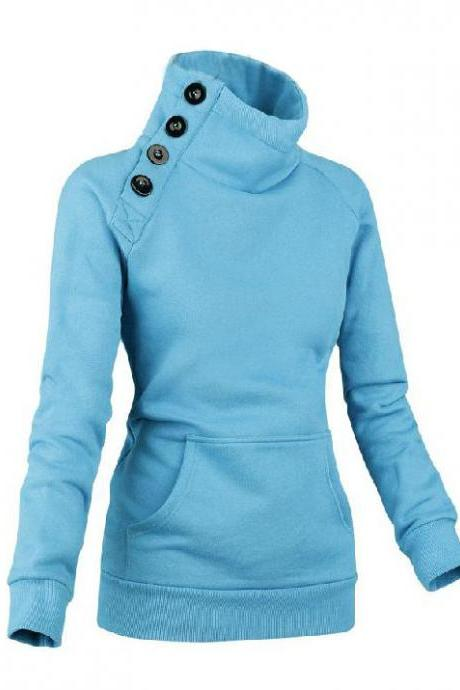 Solid Color Cotton Slim Women Hoodies