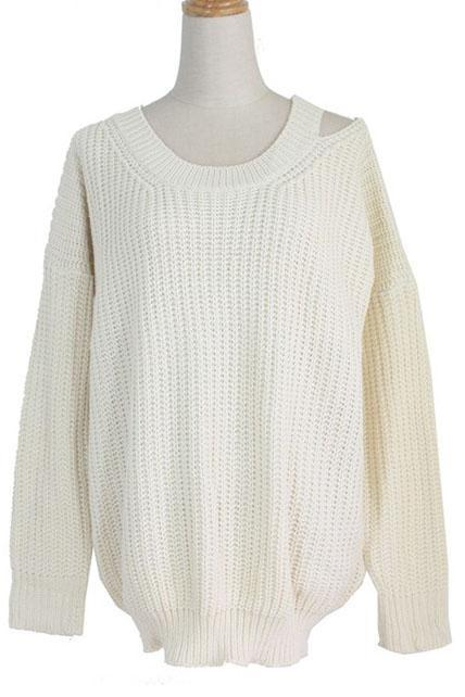 Casual Round Neck Cutout Design Pullover Sweater - Beige