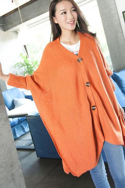 Loose Button Fly Long Sleeve Knitting Wool Sweater Coat - Orange