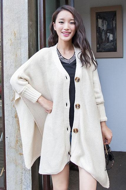 Loose Button Fly Long Sleeve Knitting Wool Sweater Coat - Beige