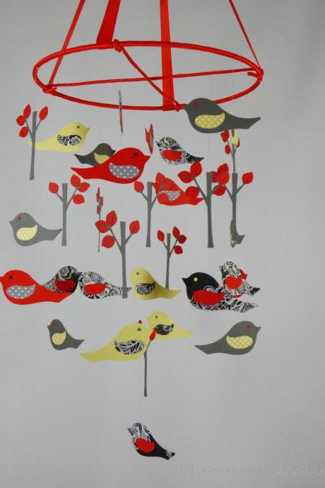 Love Birds Nursery Mobile in Red, Yellow, Gray and Black