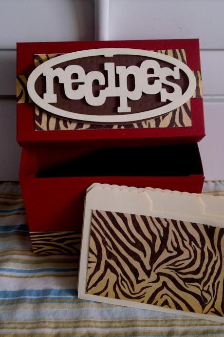 Recipe Box - Animal Print and Red!