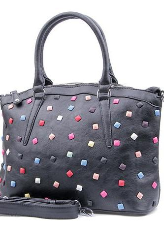 Black Leather Tote with Rivets, Multicolor Rivets Black Leather Handbag, Geometric Handbag, Geometric Tote, Laptop Bag