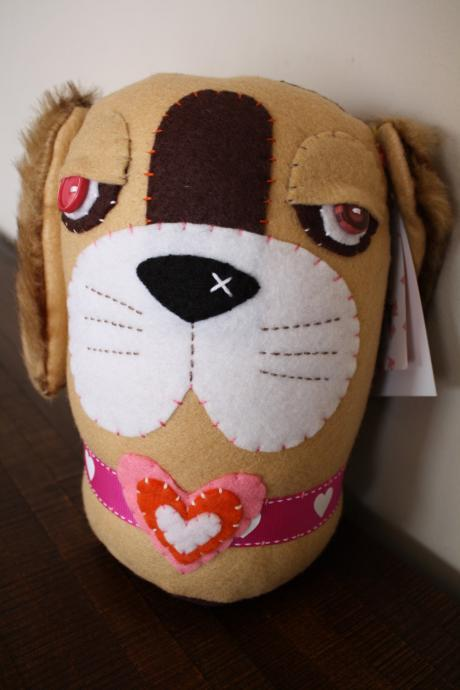 BOObeloobie Bippity the Basset in Cream, pink, orange, white and faux fur ears