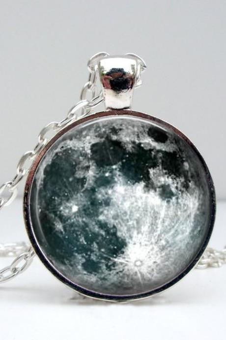 Silver Moon Necklace: Picture Pendant. Art Pendant. Handmade by Lizabettas