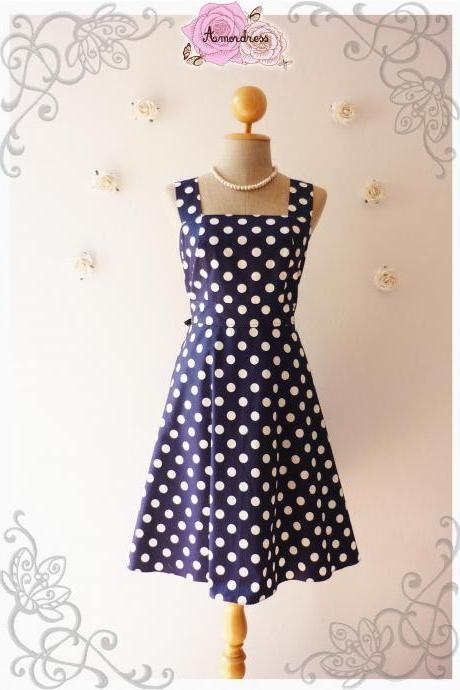 Navy Dress Vintage Inspired Dress Vintage Style Bridesmaid Dress Party Polka Dot Retro Dress Navy Summer Dress-Size XS,S,M,L,XL