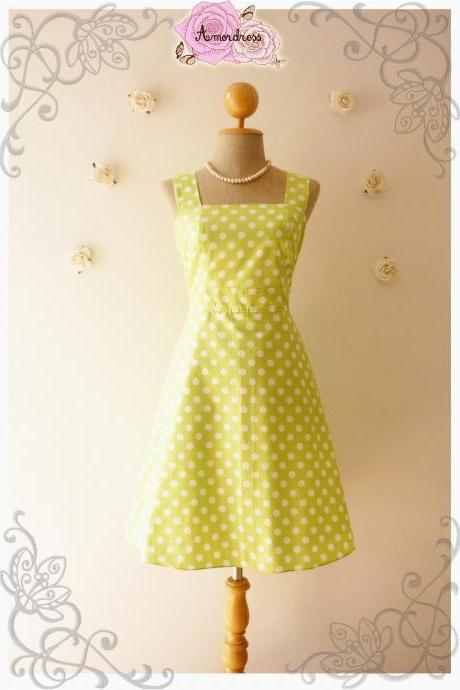Lime Green Summer Dress Bridesmaid Dress Vintage Style Dress-Size XS,S,M,L,XL