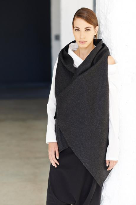 Charcoal Kasha Sleeveless Coat / Graphite Wool Overcoat / Asymmetrical Vest With Premium Leather Black Strap by Arya Sense