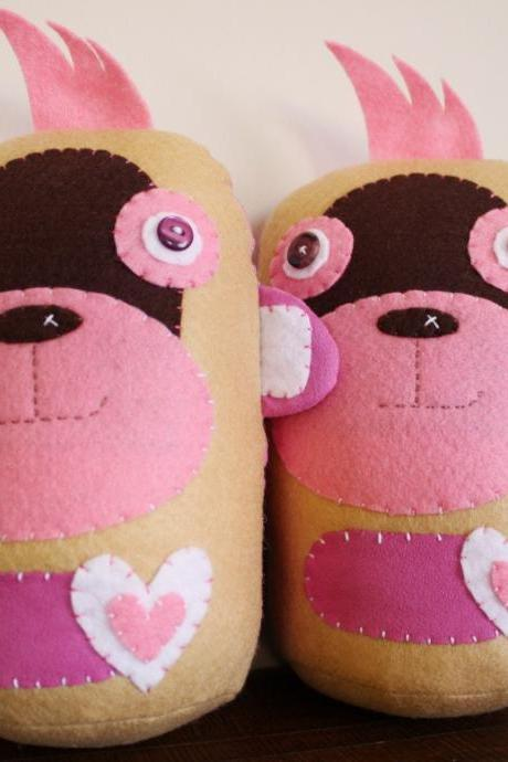 BOObeloobie Mango the Monkey in Pink, Chocolate Brown, Cream and White accents
