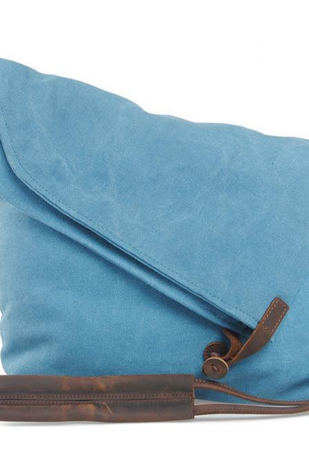 Blue Vintage Retro Single shoulder bag Messenger Bag Handbag Tote Bag Genuine Canvas Bag -vb116