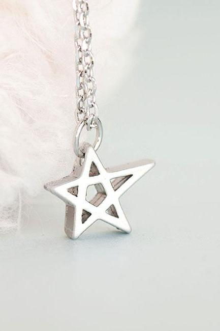 Silver Star Charm Necklace, Hollow Cutout Star Pendant