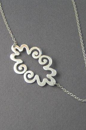 Cloud Necklace Pendant - Sterling Silver - Curvy - Spiral Pendant