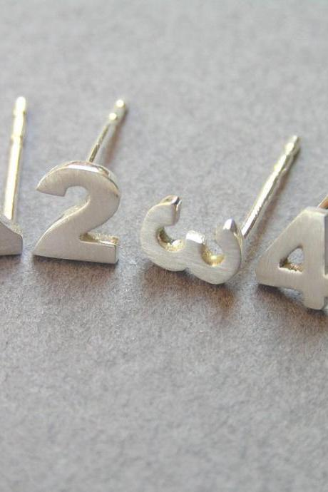 Numbers Earrings - Personalized Jewelry - Sterling Silver - Custom Numbers - Hand Cut