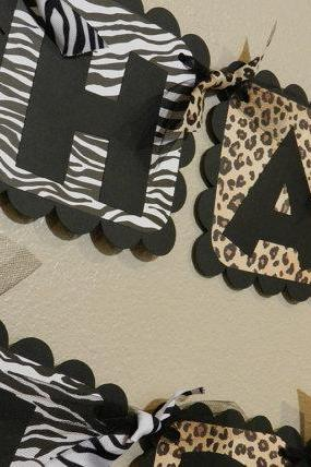 Zebra and Leopard Birthday Banner Animal Print