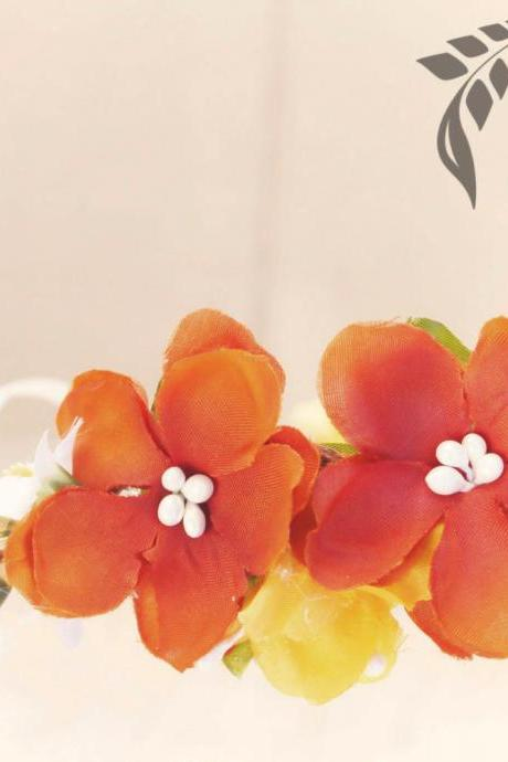 orange cherry blossom hair crown, Fall Bridal Flower Crown, Autumn wedding headpiece, hair accessories, flower girl