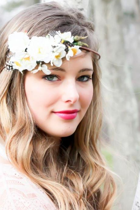 wedding hair accessories, white bridal hairpiece, wedding headband, flower hair accessory