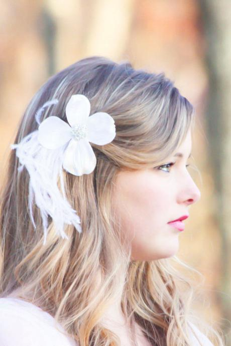 flower hair clip, bridal hair clip, feather hair clip