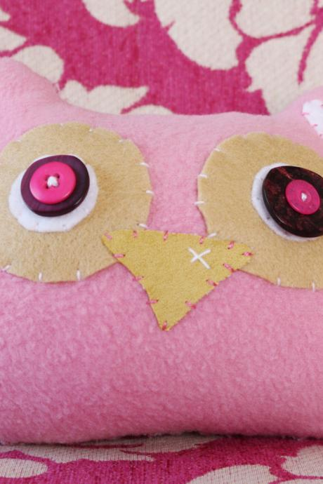 BOObeloobie Orli the Owl in Pink, Cream and white accents