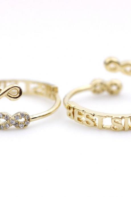 Infinity Best Sister Knuckle Ring in gold (Adjustable Knuckle Ring)