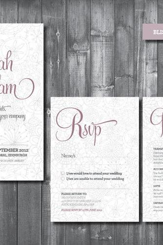 Wedding Invitation Suite - Digital Printable File - Bliss Wedding Range - DIY Wedding