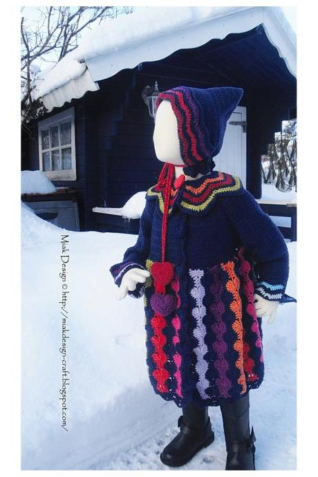 Rainbow Heart-buttoned Coat - PDF Pattern