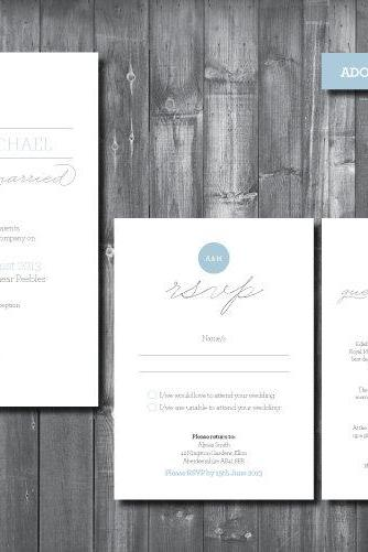 Wedding Invitation Suite - Digital Printable File - Adore Wedding Range