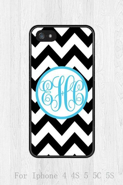 Monogram iphone 5c case, black and white Chevron iphone case, iphone 5c cover, Plastic or Rubber iphone case, phone case, cover skin case
