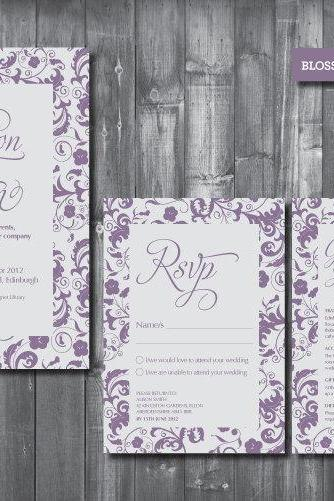 Wedding Invitation Suite - Digital Printable File - Blossom Wedding Range