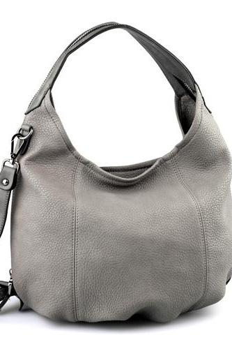 Grey Leather Tote, Hobo Handbag, Shopper, Tote, Grey Leather Handbag, Grey Purse, Leather Purse