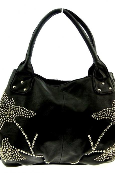 Black PU Leather Handmade Bag