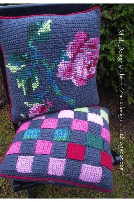Crochet cushion covers with Rose embroidery and Weaved stripes - PDF Pattern