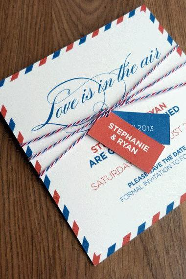 Save the Date Card - Love is in the Air - Wedding Invitation