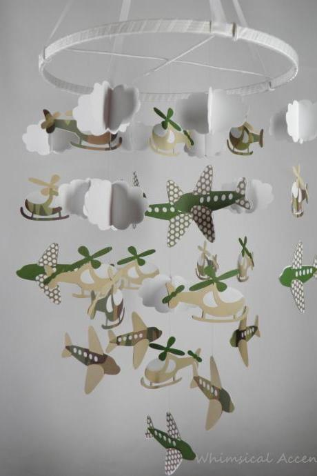 Helicopter, Airplane and Cloud Nursery Decorative Mobile in Camouflage and Polka Dots