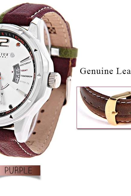 JULIUS Men Male Fahsion Quartz Wrist Watch with Calendar & Genuine Leather Band