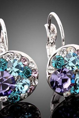 Clear Amythest & Blue Crystals 18K WGP earrings
