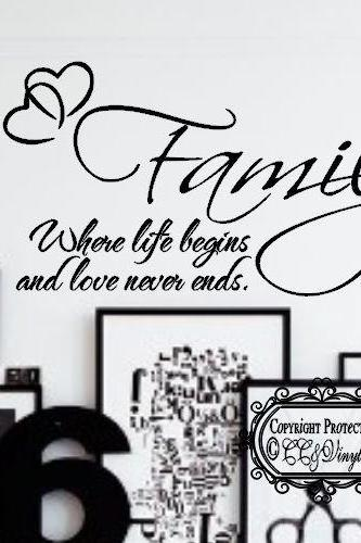 FAMILY Where life Begins and Love Never Ends Vinyl Wall Art