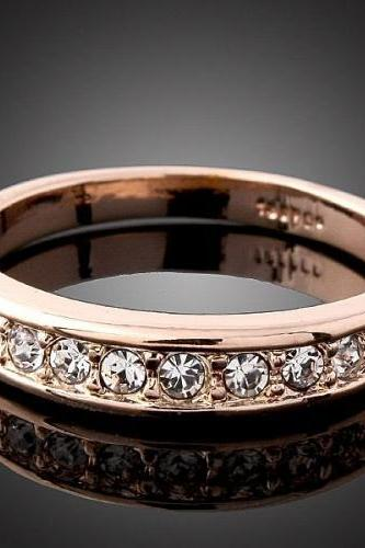 18k Rose Gold Plated Bridal Crystal Ring