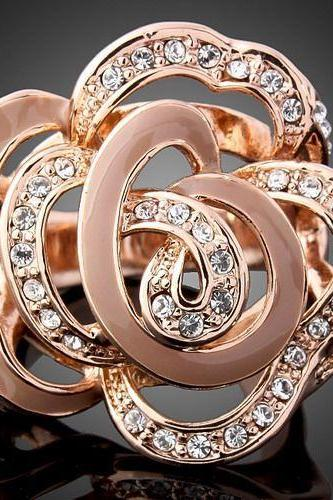 18k Rose Gold Plated Flower Cocktail Party Ring