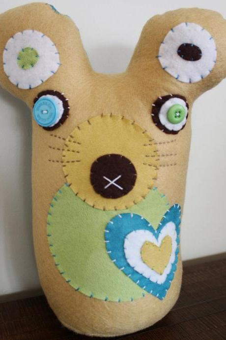 BOObeloobie Miley the Mouse in Blue, Green, Cream, White and Chocolate brown with button detail