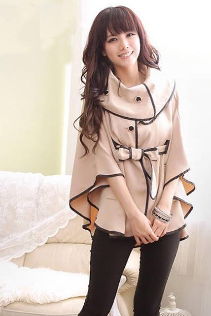 Princess Style Vogue Apricot Turndown Collar Cape Coat