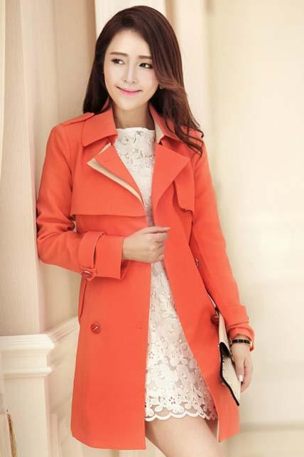 Lady Style Turndown Collar Trench Coats with Belt - Orange