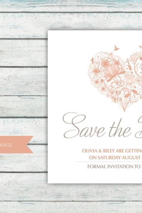 Save the Date Card - Digital Printable File - Lila Wedding Range - Wedding Invitation