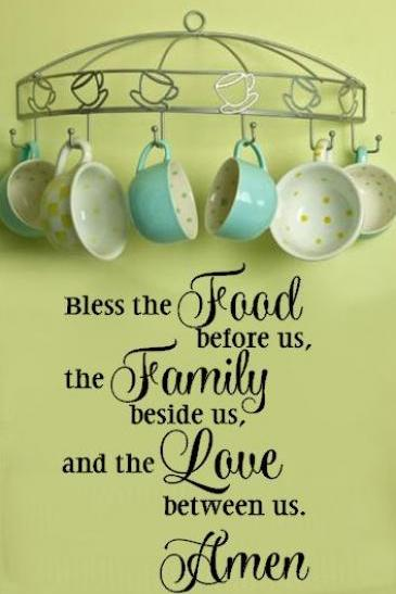 Bless the Food Before Us Kitchen Prayer Decal