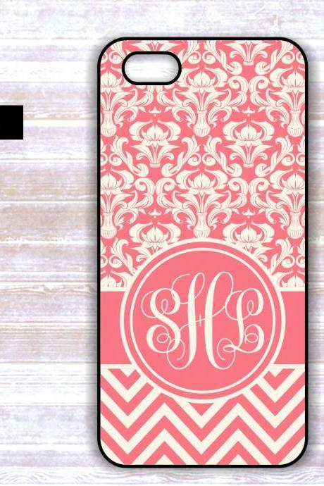 Iphone 5 case - Iphone 4/4S case - Samsung Galaxy S3 case -Floral Damask Pink Chevron Monogram Personalized iphone Hard Cover