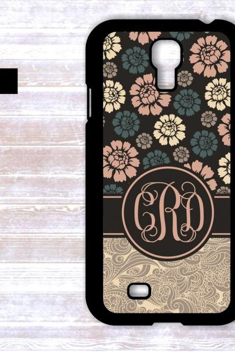 Monogrammed Floral Design Samsung Galaxy S4 Case - Personalized iPhone Case