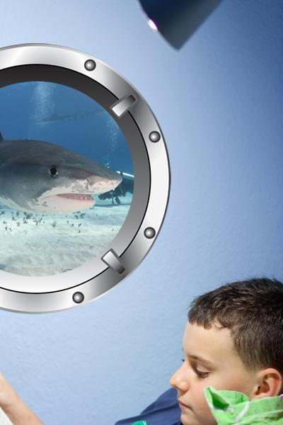 Great White Shark - Porthole Vinyl Wall Decal