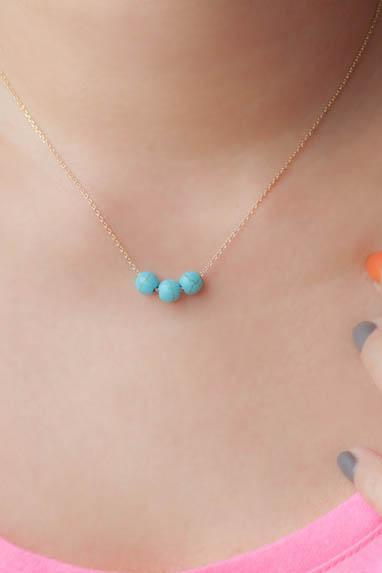 Turquoise Bead Necklace, Gold / Silver Chain Option, Three Wishes Trio Bead Necklace